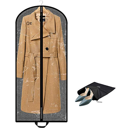 Luxury Clear Garment Bag For Multiple Clothes | 54 Inch + 5'' Gusset | Travel Carry On & Closet Storage Cover | Long Women Dress, Gown, Mens Suit, Coat, Fur | Hanging, Breathable, Moth Proof, Foldable by SAY HO UM