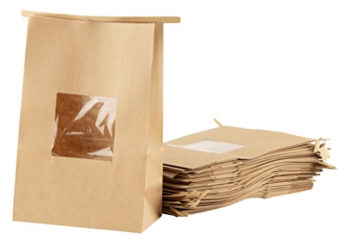 (Kraft Bags with Windows and Tin Tie - 200-Pack Resealable Kraft Paper Food Bags with Windows and Tab Lock. Professional Food Takeout Bags, for Small Snacks, Bakery, Grocery, 5.9 x 3.2 x 9 Inches)