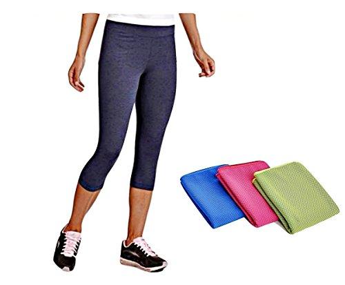2 Item Yoga Bundle: Danskin Women's Active Core Dri-More Capri Leggings + Cooling Relief Towel (M) (Capris Danskin)