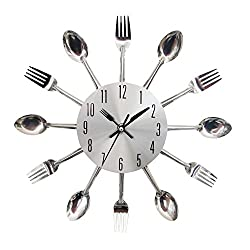 SHZONS™Funky Silver Kitchen Cutlery Spoon Fork and Knife Wall Clock Decors