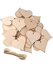 """100pcs 1.85"""" UTOPER Wooden Love Heart & Stars Slices Blank Name Tags with Hole Unfinished Wood Cutout Labels Art Craft Pieces for Wedding Party DIY Projects Card Making"""