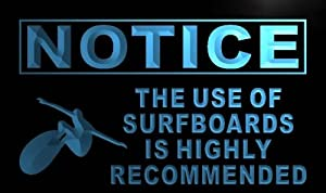 ADV PRO m727-b Notice Use of Surfboards Recommended Neon Sign Barlicht...