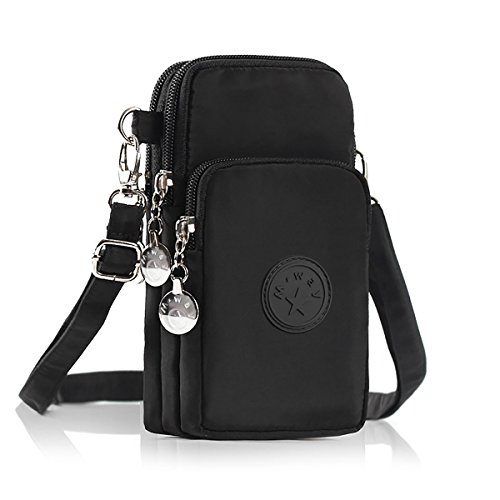 Crossbody Cell Phone Bag MWAY Nylon Wallet Handbag 3 Layers Storage Zipper Cell Phone Purse Phone Pouch with Wrist Strap for iPhone6/7/8 Samsung S5 S6 S7 Under 6 inch vertical black