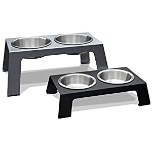 """PetFusion Elevated Dog Bowls in Premium Anodized Aluminum Stand (Tall 8""""). 2 US FOOD GRADE Stainless Steel 56oz bowls"""