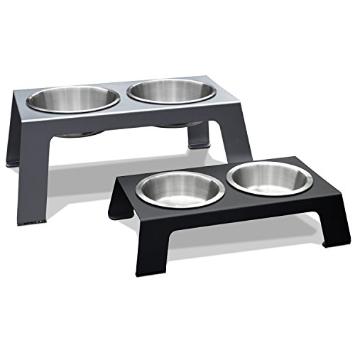 (PetFusion Elevated Dog Bowls in Premium Anodized Aluminum Stand (Tall 8