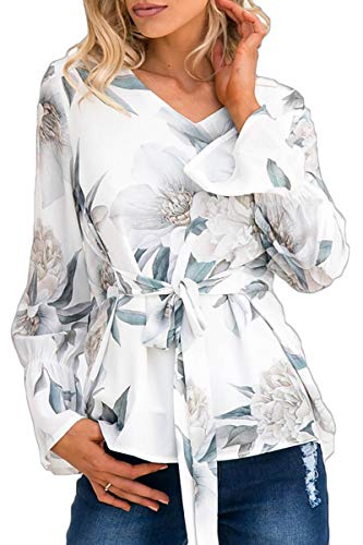 Almaree Womens Causal Floral Print V Neck Long Sleeve Tie Front Blouses Tops