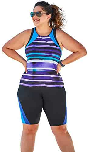 67bbaa7a826d5 Swimsuits For All Women's Plus Size Colorblock Tankini Top with Sun  Protection