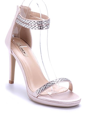 4248cfc4e4ff2c Schuhtempel24 Damen Schuhe Sandaletten Sandalen Stiletto Ziersteine 10 cm  High Heels Beige