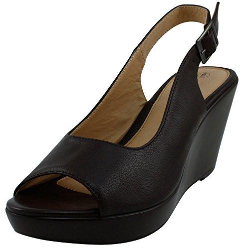 Cambridge Select Women's Open Toe Slingback Platform Wedge Sandal (9 B(M) US, Chocolate)