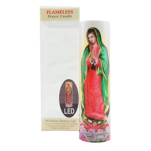 Virgin of Guadalupe Flameless LED Prayer Candle, Unique Religious Decoration, Gift Idea for Mothers Day, Birthday, or Any Holiday]()
