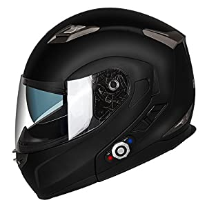 Motorcycle Bluetooth Helmets,FreedConn Flip up Dual Visors Full Face Helmet,Built-in Integrated Intercom Communication System(Range 500M,2-3Riders Pairing,FM radio,Waterproof,XL,Matte Black)