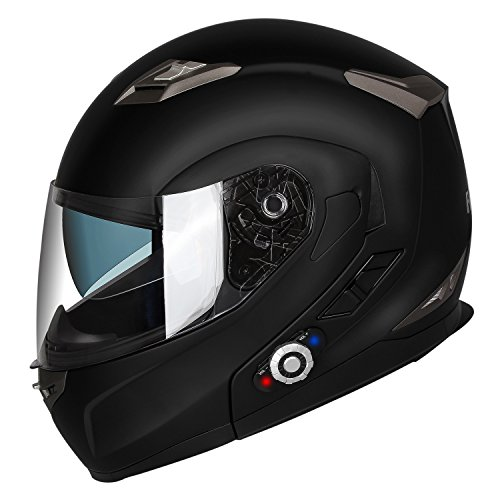 Motorcycle Bluetooth Helmets,FreedConn Flip up Dual Visors Full Face Helmet,Built-in Integrated Intercom Communication System(Range 500M,2-3Riders Pairing,FM radio,Waterproof,M,Matte Black)