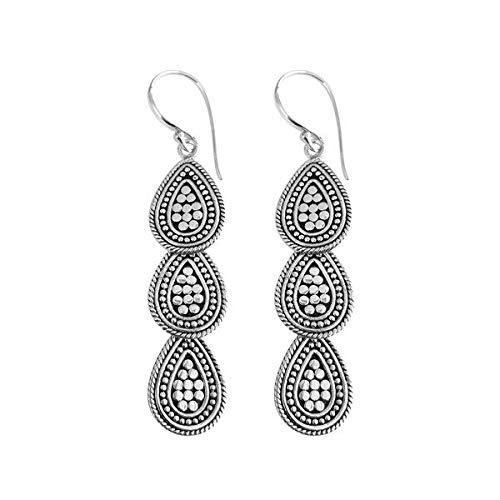 Sterling Silver Pear Shape Triple Drop Earring with Plain Silver AE-9015-S ()