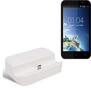 Dock USB Micro adecuado para el Kazam Tornado 2 5.0, blanco   estación de carga incluyendo el cable USB 2.0 cable de datos / cargador, la horquilla del muelle de escritorio cargador universal adecuado para el teléfono móvil para smartphones con conector micro USB, cargador de escritorio del cargador, marca: KS-Comercio (TM). compatible con Kazam Tornado 2 5.0