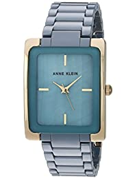 Anne Klein Women's AK/2952BLGB Gold-Tone and Slate Blue Ceramic Bracelet Watch