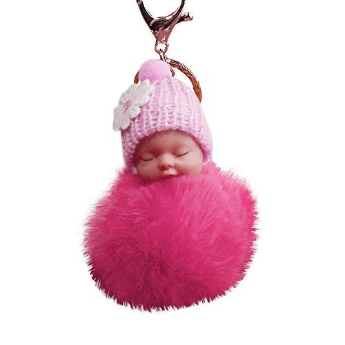 Sleeping Baby Plush Pompom Keychain,Crytech Cute Fluffy Fuzzy Slept Baby Doll Pom Pom Key Chain Handbag Pendant Charm Keyring Ring for Backpack Car Key Purse Cellphone Accessory (Watermelon Red)