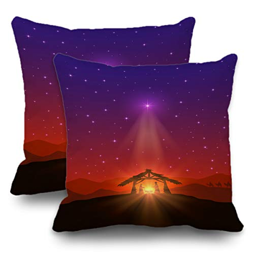 Batmerry Set of 2 Merry Christmas Decorative Pillow Covers 18x18 inch,Christmas Nativity Scene Bethlehem Star Wise Men Bible Double Sided Throw Pillow Covers Sofa Cushion Cover