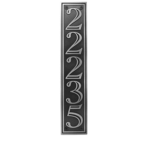 Hesperis Vertical Address Plaque 5# 5x25 - Raised Pewter Coated by Atlas Signs and Plaques