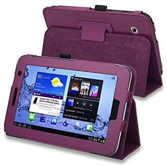 SODIAL(TM) Leather Case with Stand compatible with Samsung Galaxy Tab 2 7.0-inch P3100/ P3110/ P3113, Purple (7 Inch Samsung Galaxy Tab 2 Case)