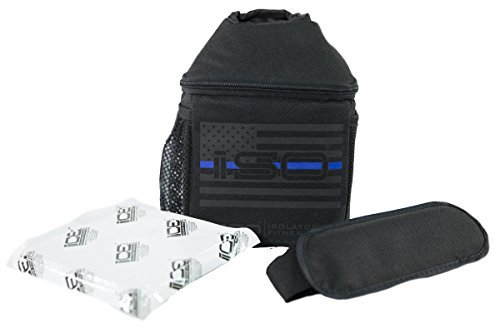 ISOJUG Thin Blue Line Insulated One Gallon Water Jug Holder Cover with ISOBRICK Ice Pack & Shoulder Strap