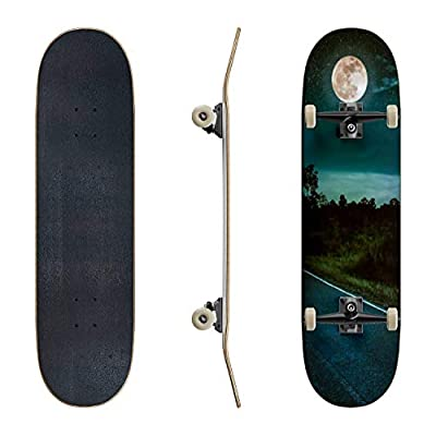 EFTOWEL Skateboards Dark Sky with Full Moon and Roadway Through Suburban Zone Asphalt Classic Concave Skateboard Cool Stuff Teen Gifts Longboard Extreme Sports for Beginners and Professionals : Sports & Outdoors