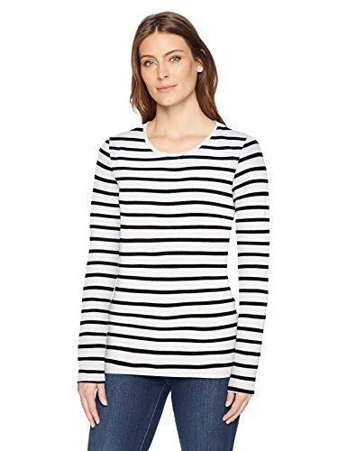 Amazon Essentials Women's Classic-Fit Long-Sleeve T-Shirt, White/Black Stripe, X-Small
