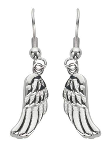 Biker Jewelry Women's Angel Wing French Wire Earrings - Stainless Steel SK1482