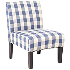 Farmhouse Accent Chairs Christopher Knight Home Kendal Accent Chair Upholstered Farmhouse-Style Blue Checkerboard Matte Black Rubberwood Legs farmhouse accent chairs