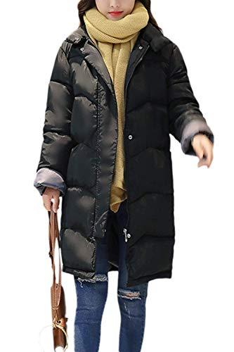 Huixin Mujer Plumas Elegante Color Sólido Colmar Cálido Pluma Otoño Invierno Modernas Chaqueta Acolchada Largos Manga Larga High Collar Cremallera Abrigos Abrigos Invierno Negro