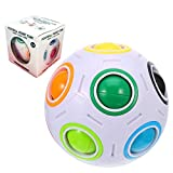 Dreamsdox Rainbow Puzzle Ball,Magic Rainbow Ball Puzzle Cube Fidget Ball,Puzzle Game Fidget Toy Stress Reliever Magic Ball for Kids and Adults, Children, Boy, Girl (White)