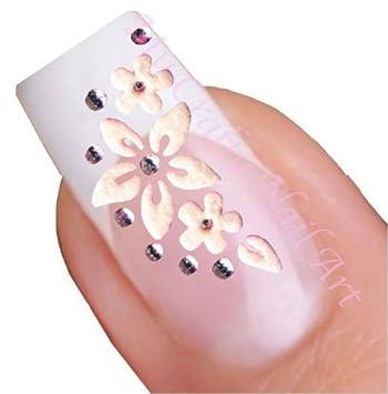 Amazon white flower rhinestone flowers nail art decal tattoo white flower rhinestone flowers nail art decal tattoo sticker mightylinksfo