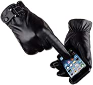 VICSPORT Men's Touchscreen Texting Leather Gloves Winter Warm Black Soft Gloves Cashmere Li