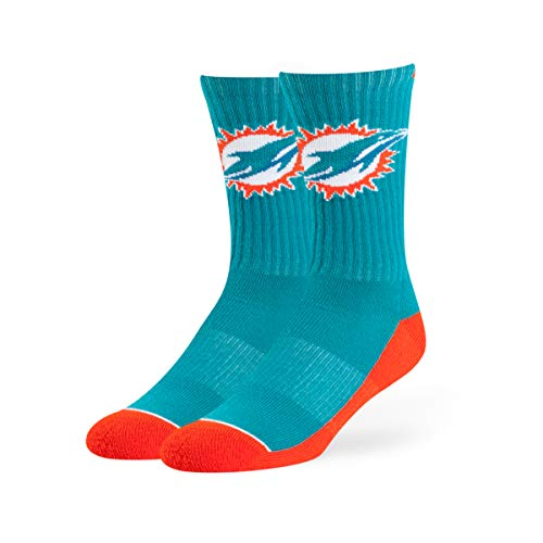 Miami Dolphins Team Colors - OTS NFL Adult Men's Anthem Sport Sock Miami Dolphins, Large, Team Color