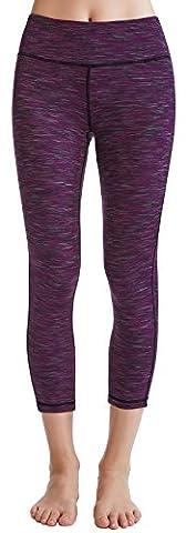 Oalka Women's Yoga Capris Power Flex Running Pants Workout Leggings Purple L