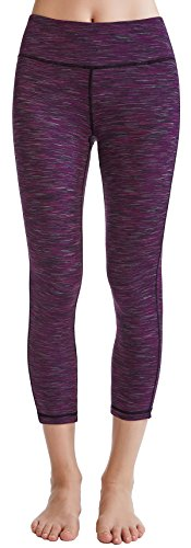 Oalka Women's Yoga Capris Power Flex Running Pants Workout Leggings Purple XL