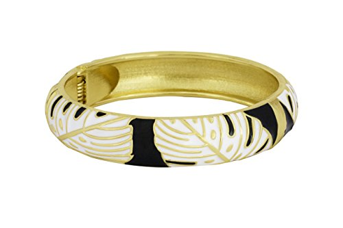 Enamel Hinge - Spring Hinge Enamel Monstera Leaf Bangle Bracelet (White/Black)