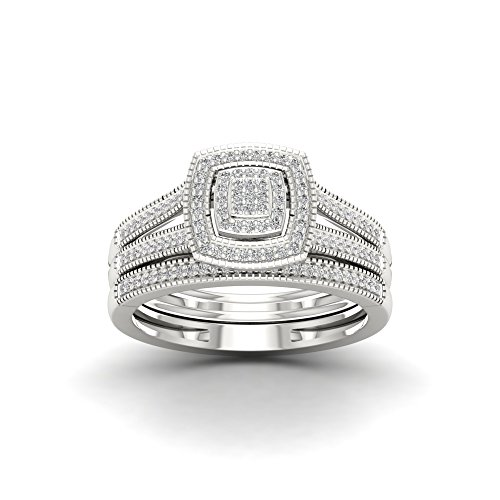 Tdw Wedding Ring Set (De Couer Sterling Silver 1/4ct TDW Diamond Halo Engagement Ring Set I-J, I2)