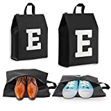 Shoe Bags for Travel for Men and Women - Personalized Initial - 4pk (Letter E)