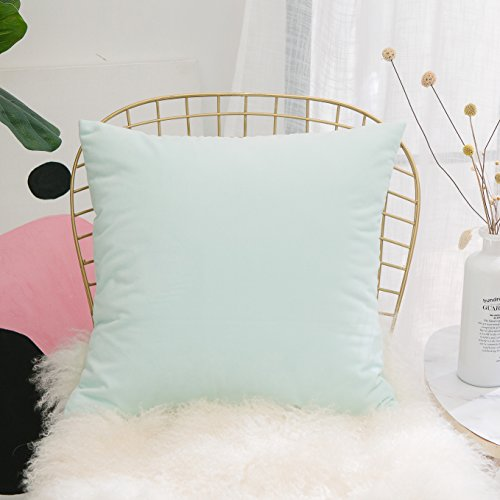 HOME BRILLIANT Solid Decorative Soft Velvet Throw Pillowcase Cover Accent Cushion Cover for Living Room, 45 x 45cm, Mint (Circles Pillow Green)