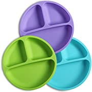 WeeSprout Silicone Divided Toddler Plates - 3 Pack - Easy to Clean - Dishwasher and Microwave Safe - Soft, Skid Resistant and Unbreakable - FDA/LFGB Certified Silicone - Great for Baby or Older Kids