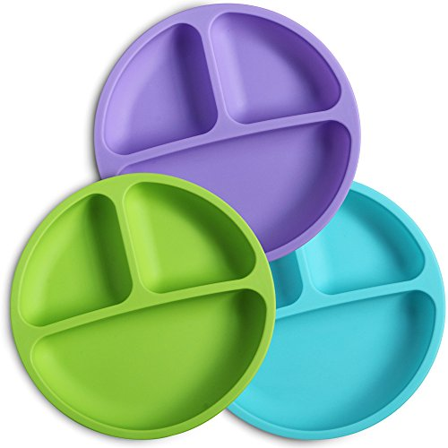 WeeSprout Silicone Divided Toddler Plates - 3 Pack - Easy to Clean - Dishwasher and Microwave Safe - Soft, Skid Resistant and Unbreakable - FDA/LFGB Certified Silicone - Great for Baby or Older Kids Toddler Dish