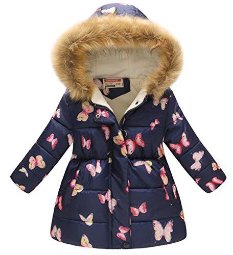 Miss Bei Girl's Kids Toddler Winter Flower Print Parka Outwear Warm Cotton Coat Hooded Jacketblue butterfly120