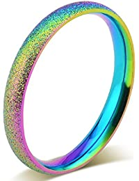 3mm Stainless Steel Sand Blast Finish Rainbow Gay Lesbian Wedding Band Engagement Domed LGBT Pride Ring