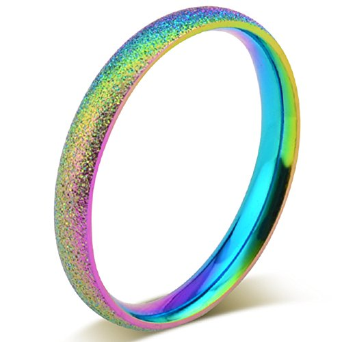 2mm Stainless Steel Sand Blast Finish Rainbow Gay Lesbian Wedding Band Engagement Domed LGBT Pride Ring Size 6