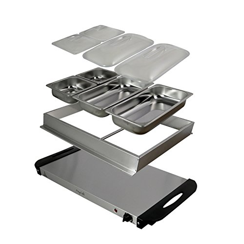 MegaChef Buffet Server & Food Warmer With 4 Removable Sectional Trays, Heated Warming Tray and Removable Tray Frame by Megachef (Image #3)