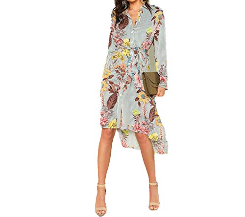TheUniqueHouse Slit Side Mixed Print Dip Hem Shirt DressLong Sleeve Stand Collar Belted Women Casual Elegant Dress,Multi,XS