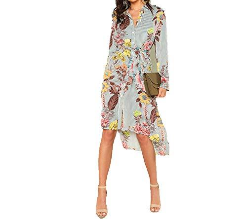 TheUniqueHouse Slit Side Mixed Print Dip Hem Shirt DressLong Sleeve Stand Collar Belted Women Casual Elegant Dress,Multi,XS