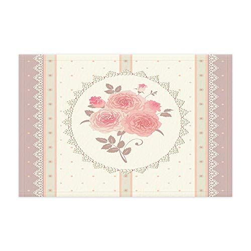 (Retro Pink Flowers Doormat, Rose Flowers Wallpaper and Bows Polka Dot and Stripes Bath Rugs, Flannel Non-Slip Floor Indoor Entrance Mat Rug 15.7x23.6in Home Accessories)