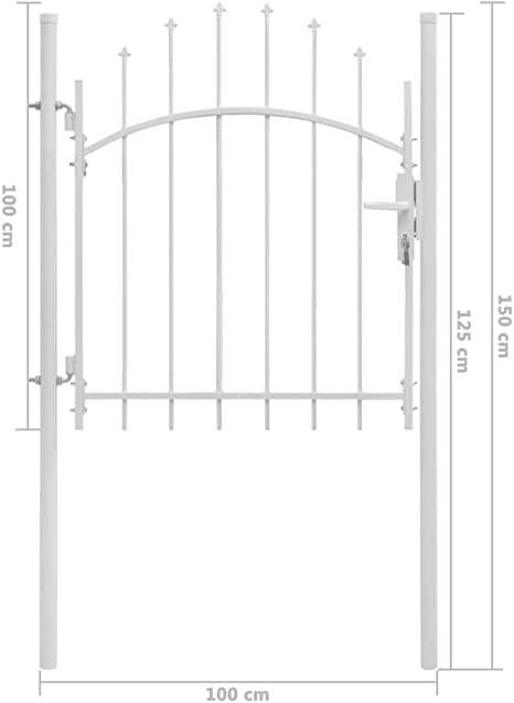 vidaXL Puerta de Jardín con Arco Superior Acero Vallas Entradas Cercado Patio Terraza Práctica Elegante Funcional Segura con Cerradura 1x1.5m Blanca: Amazon.es: Bricolaje y herramientas