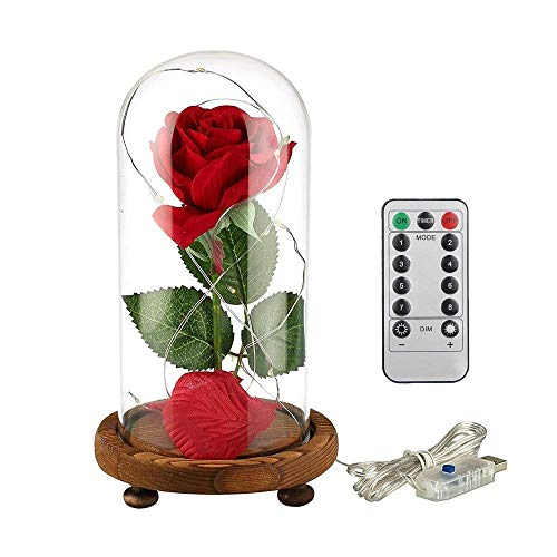 Personalized Silk Rose Petals - JUNNUO Beauty and The Beast Rose Kit, Enchanted Red Silk Rose with LED Light in Glass Dome-Birthday Gifts,Anniversary Ideas, Decor(Wooden Base)